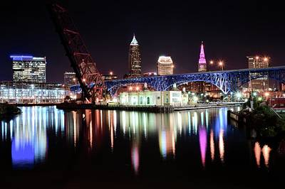 Photograph - Cleveland Ohio Lights Up With Color by Frozen in Time Fine Art Photography