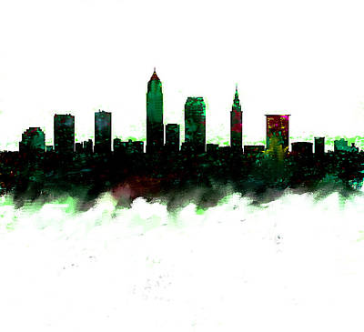 Cleveland Painting - Cleveland Ohio Skyline Green  by Enki Art