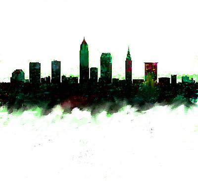 Cleveland Painting - Cleveland Ohio Skyline Green  by Enki Art