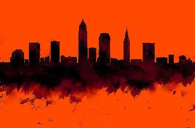 Cleveland Painting - Cleveland Ohio Skyline Orange 2  by Enki Art