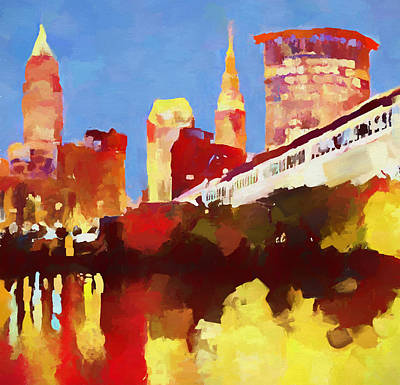 Painting - Cleveland Ohio Skyline Reflection by Dan Sproul
