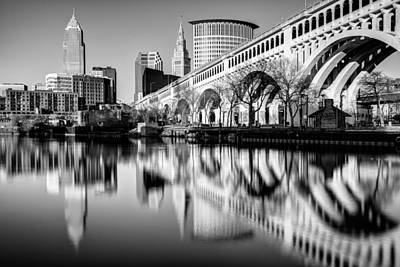Cleveland Photograph - Cleveland Reflections On The Cuyahoga River by Matt Hammerstein