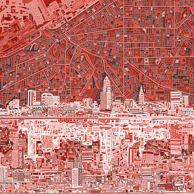 Painting - Cleveland Skyline Abstract 10 by Bekim Art
