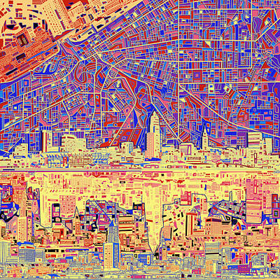 Painting - Cleveland Skyline Abstract 11 by Bekim Art