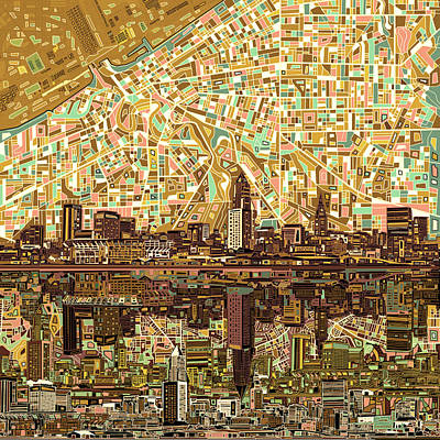 Ohio Painting - Cleveland Skyline Abstract 6 by Bekim Art