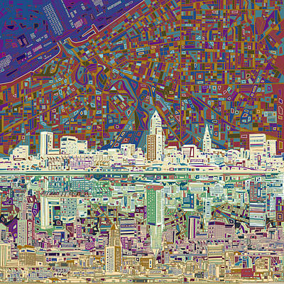 Abstract Skyline Paintings - Cleveland Skyline Abstract 8 by Bekim M