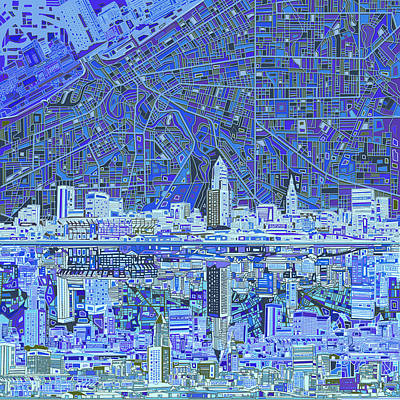 Abstract Skyline Paintings - Cleveland Skyline Abstract 9 by Bekim M