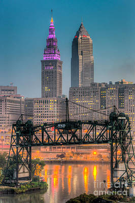Photograph - Cleveland Skyline And The Flats Morning Twilight I by Clarence Holmes
