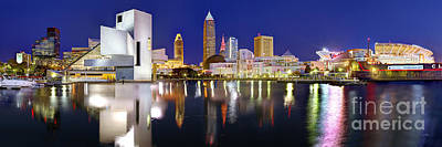 Panoramic Photograph - Cleveland Skyline At Dusk by Jon Holiday