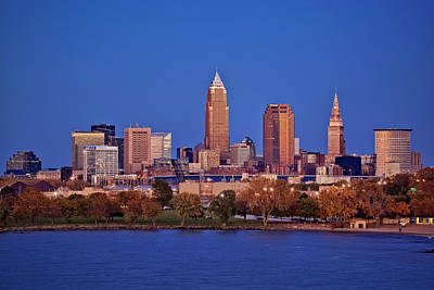Sunset Photograph - Cleveland Skyline Blue Hour by Marcia Colelli