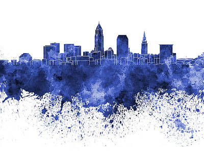 Ohio Painting - Cleveland Skyline In Blue Watercolor On White Background by Pablo Romero