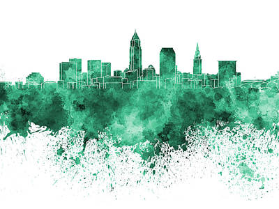 Ohio Painting - Cleveland Skyline In Green Watercolor On White Background by Pablo Romero