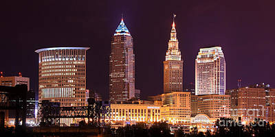 Photograph - Cleveland Skyline Night Color - Downtown Buildings by Jon Holiday