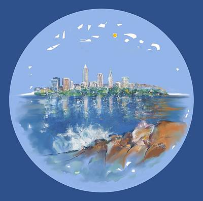Digital Art - Cleveland Skyline Plate by Mary Armstrong