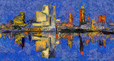 Painting - Cleveland Skyline Reflection by Dan Sproul