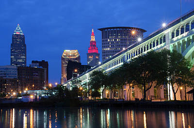 Photograph - Cleveland Skyline Sunset by Ann Bridges