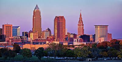 Mood Photograph - Cleveland Skyline Sunset by Marcia Colelli