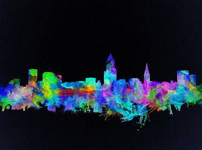 Painting - Cleveland Skyline Watercolor 3 by Bekim Art