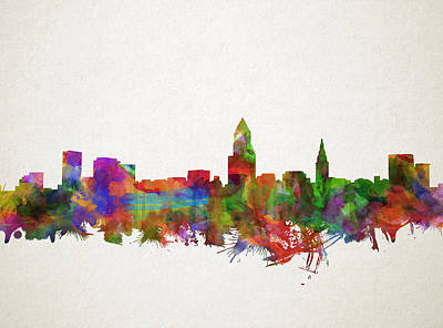 Painting - Cleveland Skyline Watercolor 4 by Bekim Art