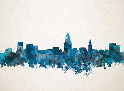 Painting - Cleveland Skyline Watercolor Blue by Bekim Art