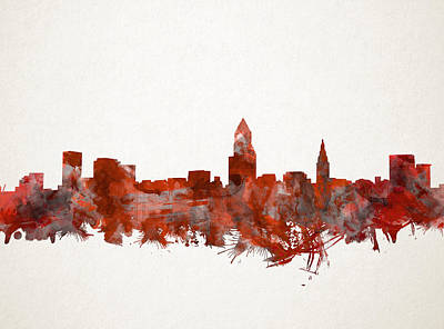 Painting - Cleveland Skyline Watercolor Red by Bekim Art