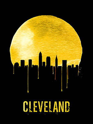 Downtown Cleveland Painting - Cleveland Skyline Yellow by Naxart Studio