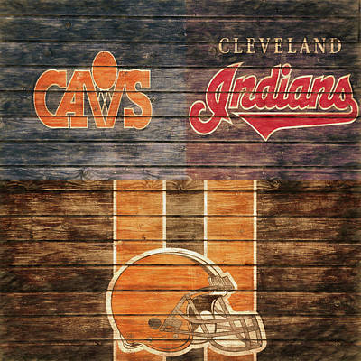 Cleveland Indians Mixed Media - Cleveland Sports Teams Barn Door by Dan Sproul