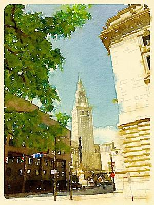 Cleveland Terminal Tower At Public Square Art Print by Janet Dodrill