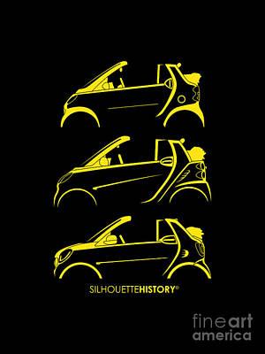 Small Digital Art - Clever Cabrio Silhouettehistory by Gabor Vida