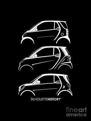 Small Digital Art - Clever Coupe Silhouettehistory by Gabor Vida