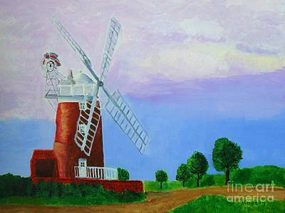 Print featuring the painting Cley Mill by Rodney Campbell