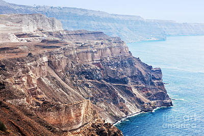 Places Photograph - Cliff And Volcanic Rocks Of Santorini Island by Michal Bednarek