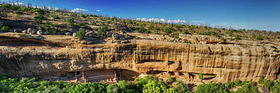 Stone Buildings Photograph - Cliff Dwelling Indian Ruins Panorama by James BO Insogna