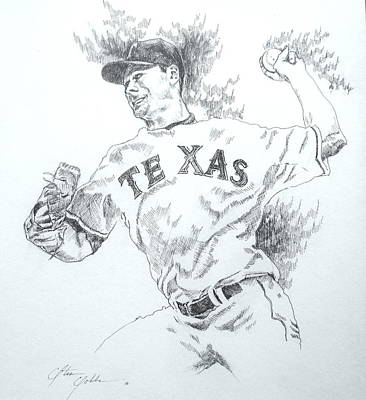 World Series Art Drawing - Cliff Lee by Otis  Cobb
