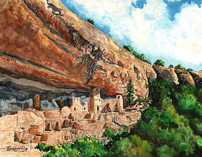 Canyons Painting - Cliff Palace Mesa Verde by Timithy L Gordon