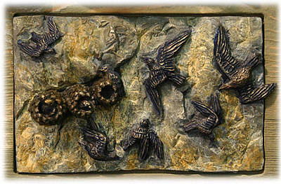 Sculpture - Cliff Swallows by Dawn Senior-Trask
