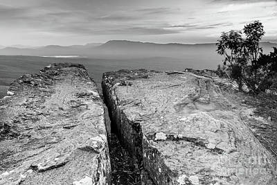 Cliff Top Black And White Art Print
