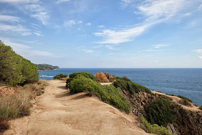 Cliff Top Path At Mediterranean Sea Art Print