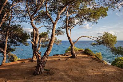 Cliff Top Terrace Viewpoint At Mediterranean Sea Art Print