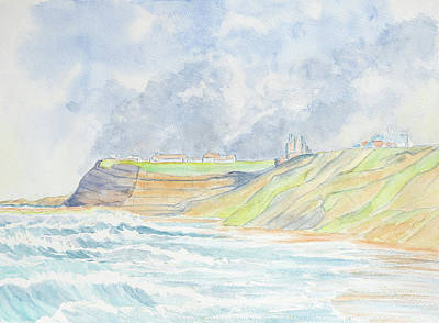 Hill Top Village Painting - Cliff Top Village by Roy Pedersen