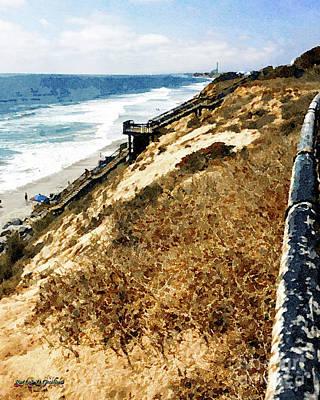 Art Print featuring the digital art Cliff View - Carlsbad Ponto Beach by Rhonda Strickland