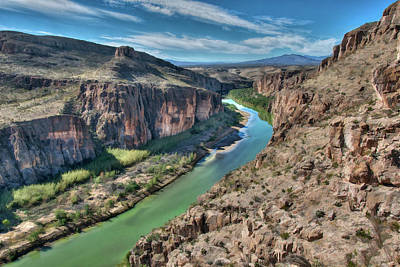 Grande Painting - Cliff View Of Big Bend Texas National Park And Rio Grande  by Elaine Plesser
