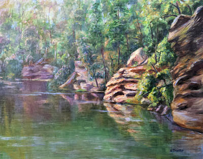 Cliffs At Lake Nichol Art Print by Susan Thacker