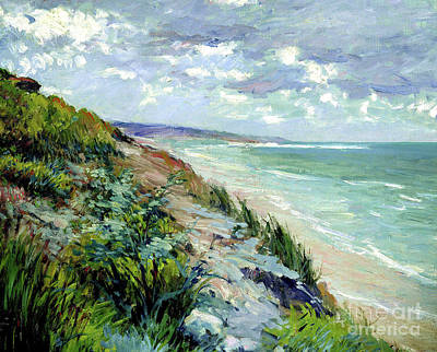 Paris Skyline Royalty-Free and Rights-Managed Images - Cliffs By The Sea At Trouville  by Gustave Caillebotte