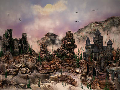 Digital Art - Cliffs Edge Castle by Artful Oasis