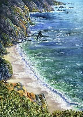 Big Sur Painting - Cliffs by Karen Wright