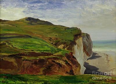 Cliffs Art Print by Louis Eugene Gabriel Isabey