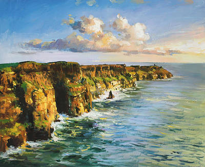 Sunset On Water Painting - Cliffs Of Mohar 2 by Conor McGuire