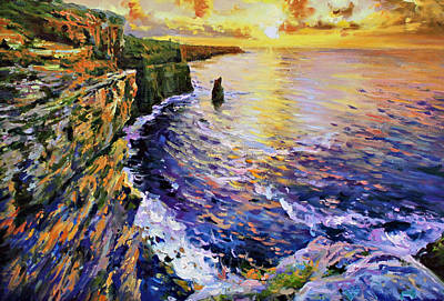 Sunburst Painting - Cliffs Of Moher At Sunset by Conor McGuire