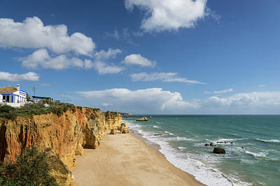 Photograph - Clifftop Restaurant With A View In Algarve Portugal by Georgia Mizuleva